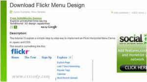 Flickr Horizontal Menu Design