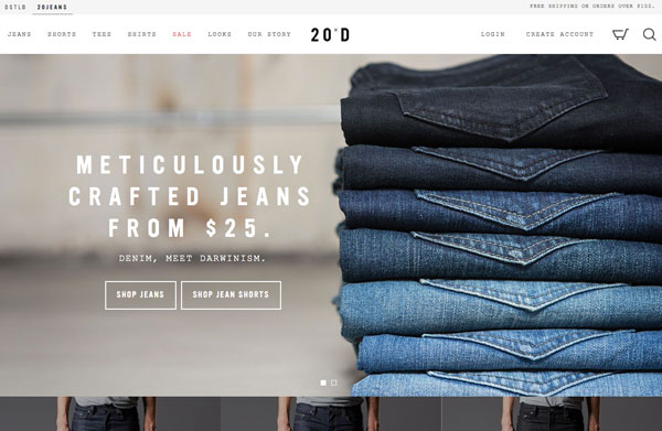 20jeans uses ghost buttons on their website.