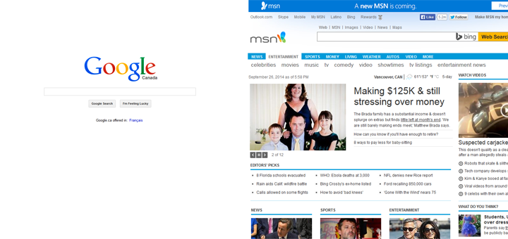 Google simplicity vs. MSN clutter.